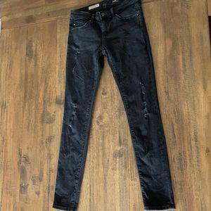 AG black distressed super skinny ankle legging 24R
